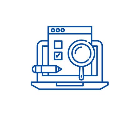 Usability test line concept icon. Usability test flat  vector website sign, outline symbol, illustration.