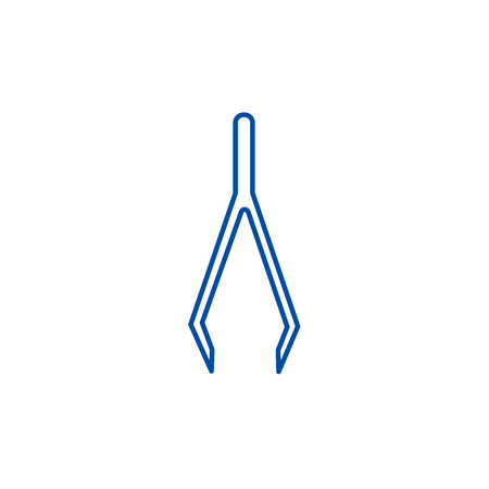 Tweezers line concept icon. Tweezers flat  vector website sign, outline symbol, illustration. Çizim