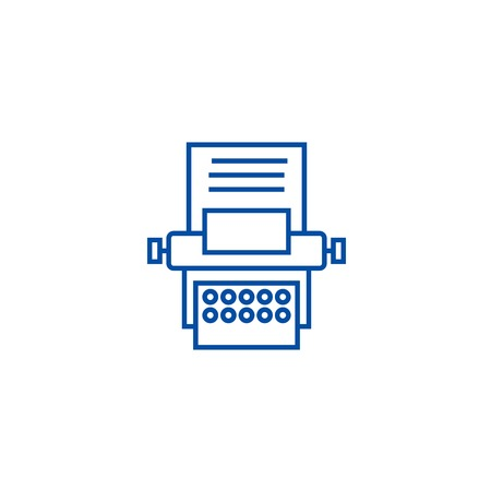 Type writer line concept icon. Type writer flat  vector website sign, outline symbol, illustration.