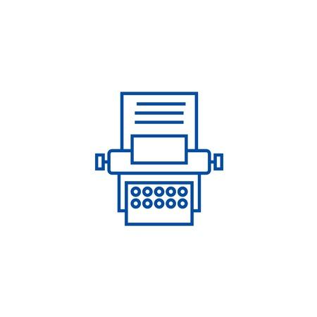 Type writer line concept icon. Type writer flat  vector website sign, outline symbol, illustration.