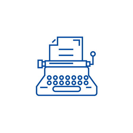 Typewriter,writer,writing,copywriting line concept icon. Typewriter,writer,writing,copywriting flat  vector website sign, outline symbol, illustration.