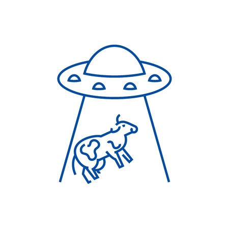 Ufo taking cow line concept icon. Ufo taking cow flat  vector website sign, outline symbol, illustration.