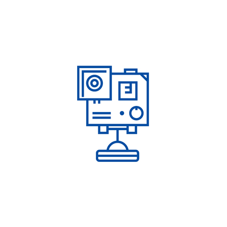 Video camera, flat  vector website sign, outline symbol, illustration. Reklamní fotografie - 119712370