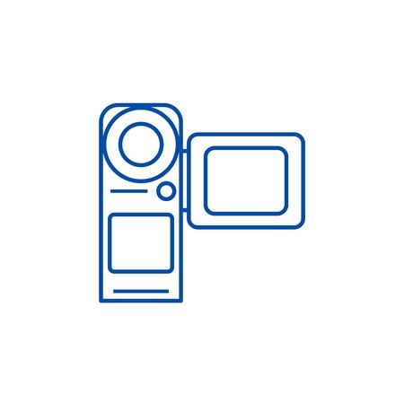 Video camera,movie making line concept icon. Video camera,movie making flat  vector website sign, outline symbol, illustration.