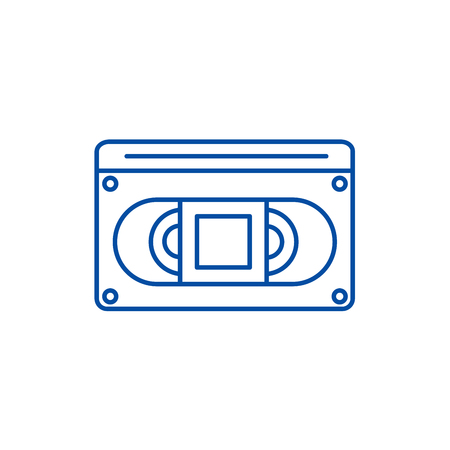 Video cassete line concept icon. Video cassete flat  vector website sign, outline symbol, illustration.