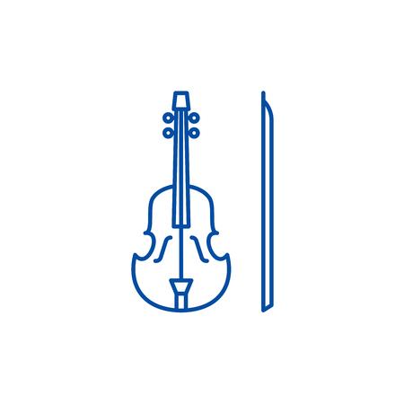 Violin line concept icon. Violin flat  vector website sign, outline symbol, illustration.