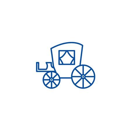 Vintage carriage,antique transport line concept icon. Vintage carriage,antique transport flat  vector website sign, outline symbol, illustration.