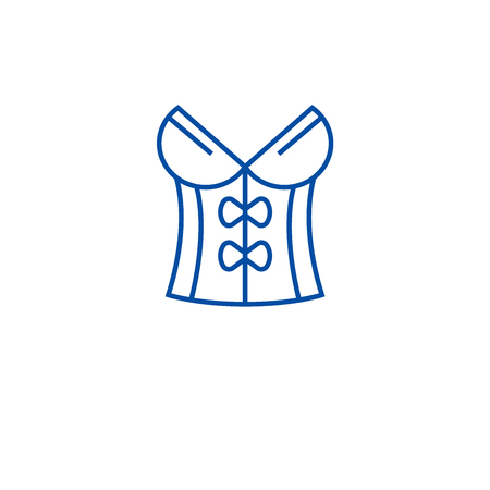 Vintage corset line concept icon. Vintage corset flat  vector website sign, outline symbol, illustration.