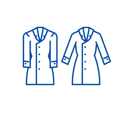 Trench coat line concept icon. Trench coat flat  vector website sign, outline symbol, illustration.