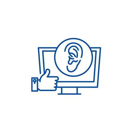 Viral marketing line concept icon. Viral marketing flat vector website sign, outline symbol, illustration. Vector Illustration