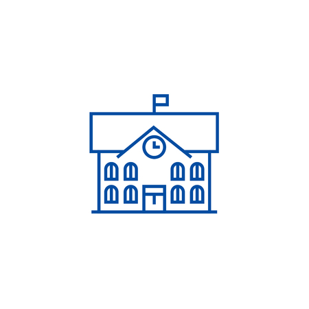 Town hall,city hall line concept icon. Town hall,city hall flat  vector website sign, outline symbol, illustration.