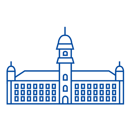 Townhall line concept icon. Townhall flat  vector website sign, outline symbol, illustration.