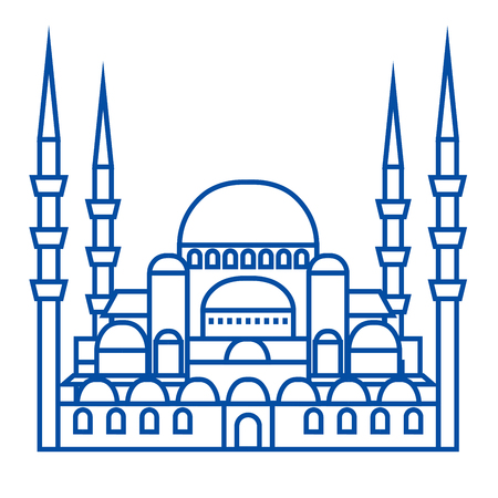 Turkish mosque line concept icon. Turkish mosque flat vector website sign, outline symbol, illustration.