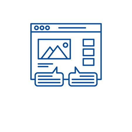 User reviews line concept icon. User reviews flat  vector website sign, outline symbol, illustration. Stock Vector - 119712514