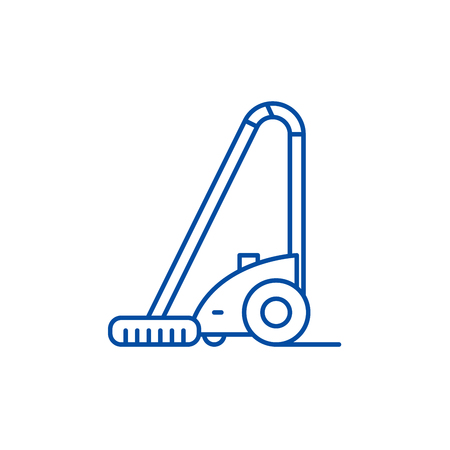 Vacuum cleaner line concept icon. Vacuum cleaner flat  vector website sign, outline symbol, illustration. Stock Illustratie