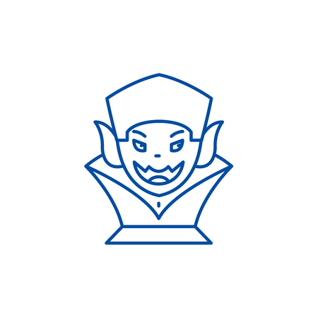 Vampire line concept icon. Vampire flat  vector website sign, outline symbol, illustration.