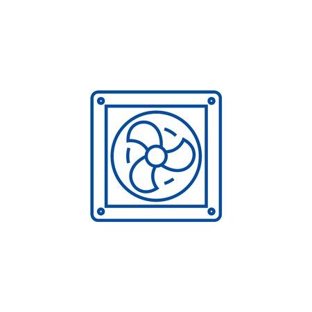 Symbol für das Konzept der Lüftungsleitung. Flaches Vektor-Website-Zeichen der Belüftung, Umrisssymbol, Illustration.