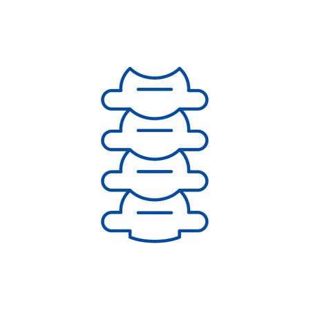 Vertebrae line concept icon. Vertebrae flat  vector website sign, outline symbol, illustration. Illustration