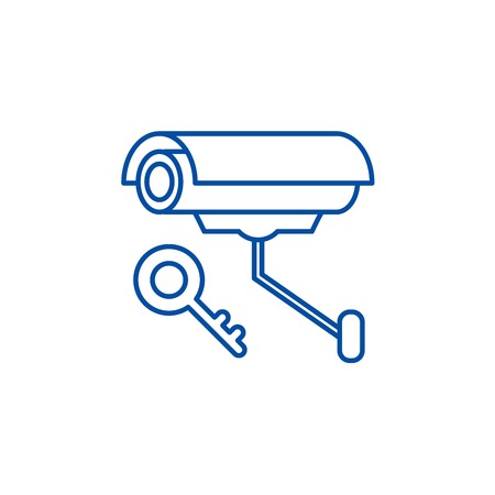 Video alarm line concept icon. Video alarm flat  vector website sign, outline symbol, illustration.