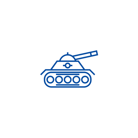 War tank line concept icon. War tank flat  vector website sign, outline symbol, illustration. Ilustração