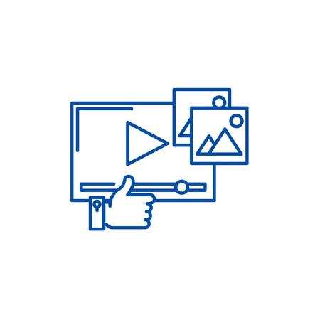 Video marketing line concept icon. Video marketing flat  vector website sign, outline symbol, illustration. Illustration