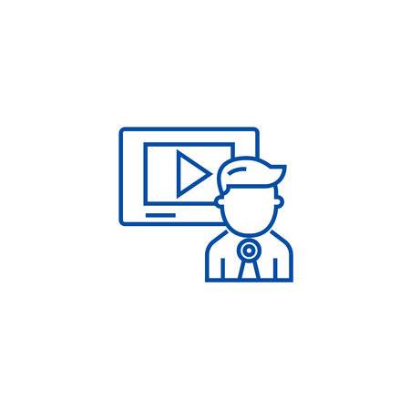 Video marketing,video channel,news line concept icon. Video marketing,video channel,news flat  vector website sign, outline symbol, illustration.