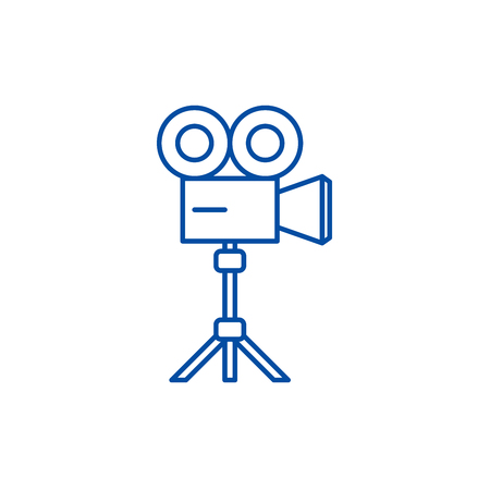 Video shooting line concept icon. Video shooting flat  vector website sign, outline symbol, illustration.
