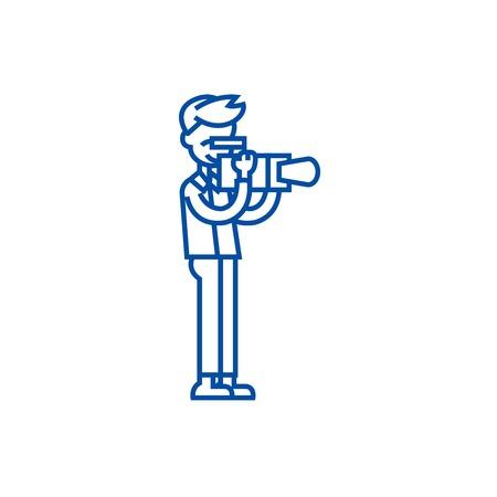 Videographer line concept icon. Videographer flat  vector website sign, outline symbol, illustration. Stock Vector - 119713505