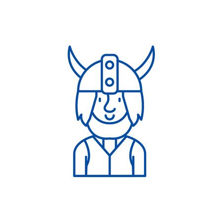 Viking line concept icon. Viking flat  vector website sign, outline symbol, illustration. Illustration