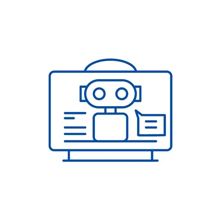 Virtual assistant line concept icon. Virtual assistant flat  vector website sign, outline symbol, illustration. Фото со стока - 119713543
