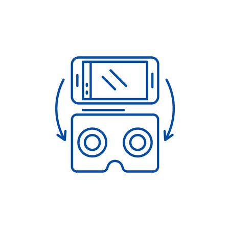 Virtual glasses for gadgets line concept icon. Virtual glasses for gadgets flat  vector website sign, outline symbol, illustration. Фото со стока - 119713559