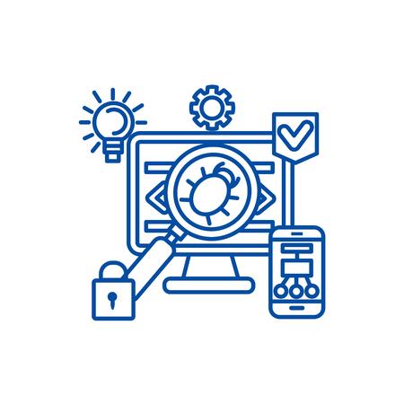 Virus,hacker,anti hacking line concept icon. Virus,hacker,anti hacking flat  vector website sign, outline symbol, illustration.