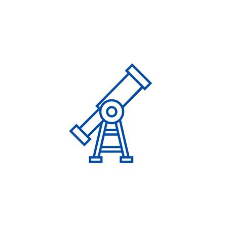 Vision,telescope line concept icon. Vision,telescope flat  vector website sign, outline symbol, illustration.