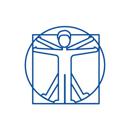 Vitruvian man  line concept icon. Vitruvian man  flat  vector website sign, outline symbol, illustration. Çizim