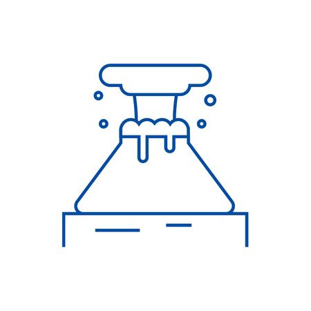 Volcano line concept icon. Volcano flat  vector website sign, outline symbol, illustration. Illustration