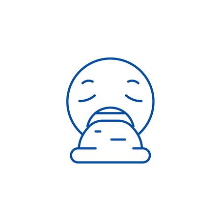 Vomit emoji line concept icon. Vomit emoji flat  vector website sign, outline symbol, illustration.