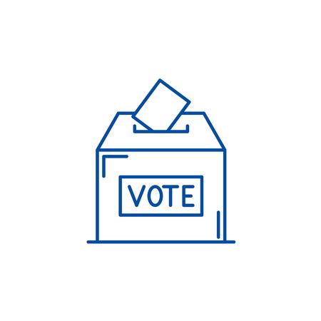 Vote line concept icon. Vote flat  vector website sign, outline symbol, illustration.
