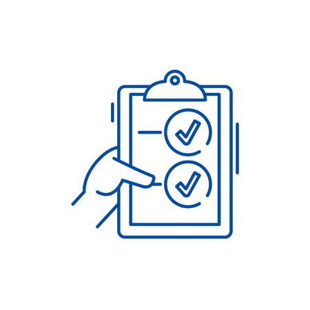 Voting line concept icon. Voting flat vector website sign, outline symbol, illustration.