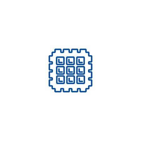 Waffle line concept icon. Waffle flat  vector website sign, outline symbol, illustration.