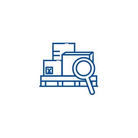 Warehouse line concept icon. Warehouse flat  vector website sign, outline symbol, illustration. Illustration