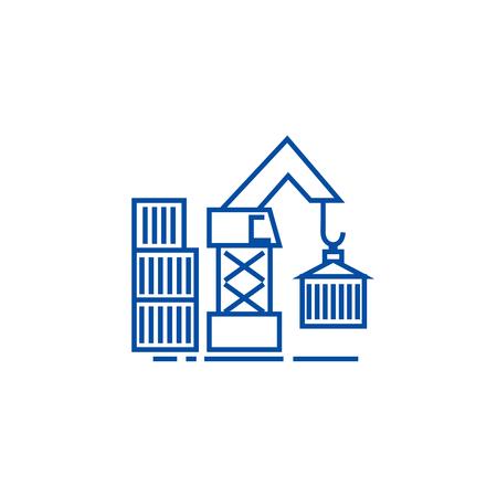 Warehouse crane cargo line concept icon. Warehouse crane cargo flat  vector website sign, outline symbol, illustration. Archivio Fotografico - 119713656
