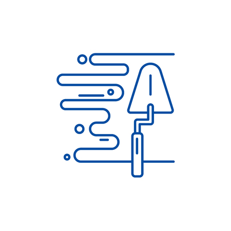 Wall plaster line concept icon. Wall plaster flat  vector website sign, outline symbol, illustration.