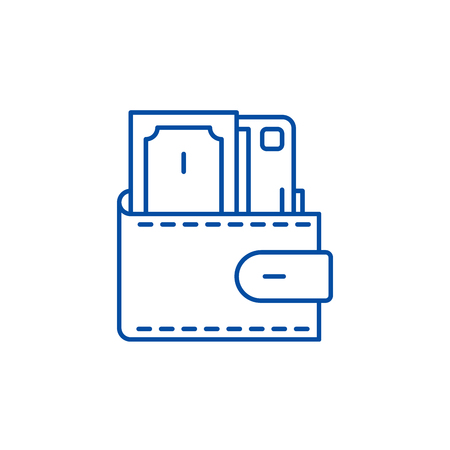 Wallet with cash line concept icon. Wallet with cash flat  vector website sign, outline symbol, illustration. Foto de archivo - 119713665