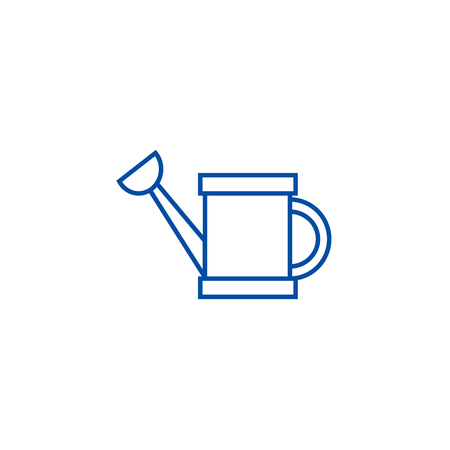 Watering can line concept icon. Watering can flat  vector website sign, outline symbol, illustration.