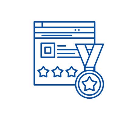 Webiste rating line concept icon. Webiste rating flat  vector website sign, outline symbol, illustration. Ilustracja