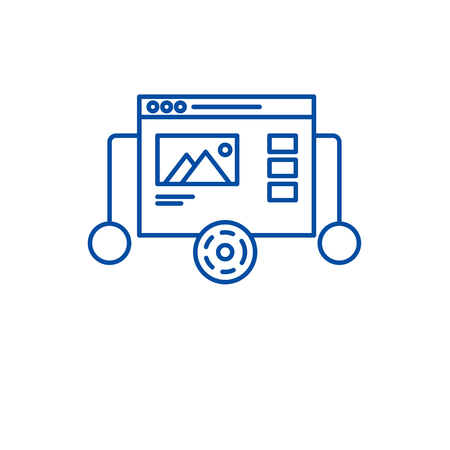 Website prototyping line concept icon. Website prototyping flat  vector website sign, outline symbol, illustration. Illustration