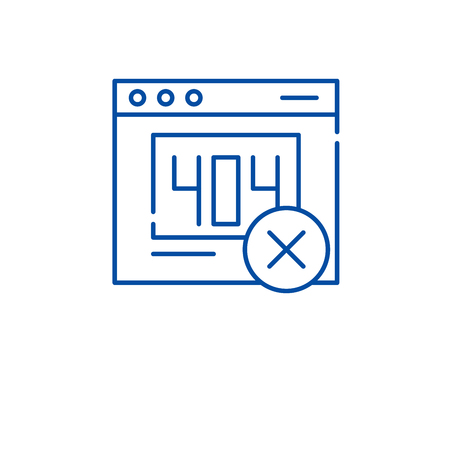 Website error line concept icon. Website error flat  vector website sign, outline symbol, illustration.
