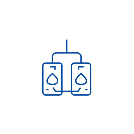 Water heating tank line concept icon. Water heating tank flat  vector website sign, outline symbol, illustration.