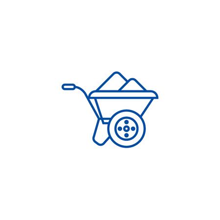Wheelbarrow line concept icon. Wheelbarrow flat  vector website sign, outline symbol, illustration.