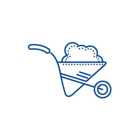 Wheelbarrow garden line concept icon. Wheelbarrow garden flat  vector website sign, outline symbol, illustration.